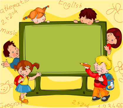 hand drawn school kids vector background