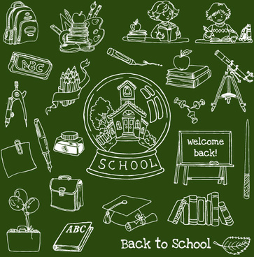 hand drawn school supplies design vector