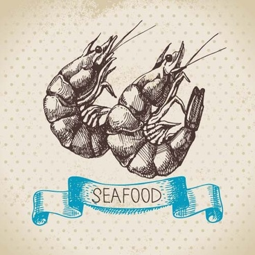hand drawn seafood with ribbon vectors