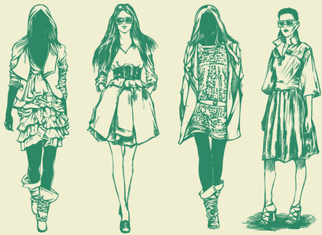 hand drawn sketches female design vector
