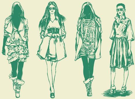 hand drawn sketches female design vector