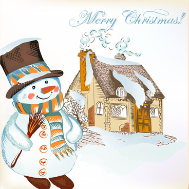 hand drawn snowman christmas background vector
