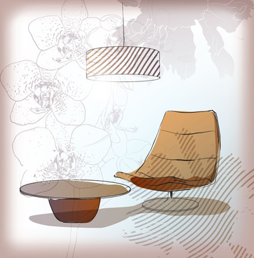 hand drawn sofa armchairs vector graphics