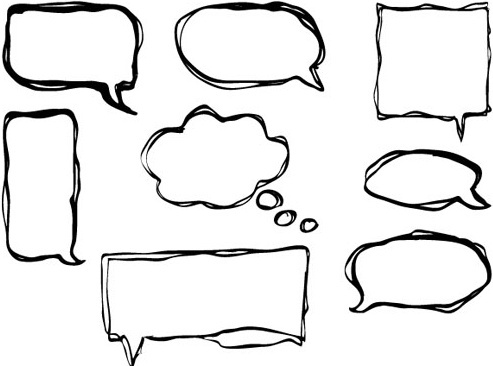 hand drawn speech bubbles creative vector