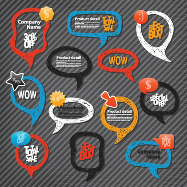 hand drawn speech bubbles design vector art
