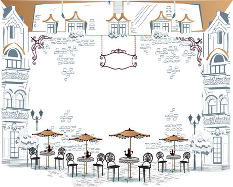 hand drawn streets cafe vector