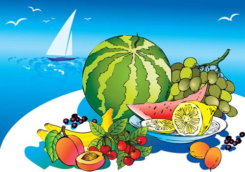 hand drawn summer fruits vector graphics