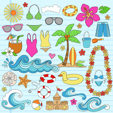 hand drawn summer sun beach vector