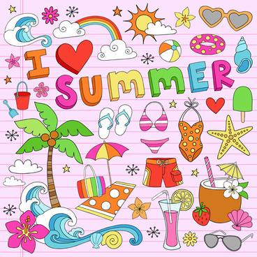 hand drawn summer sun beach vector