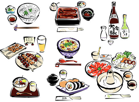 hand drawn sushi elements creative vector