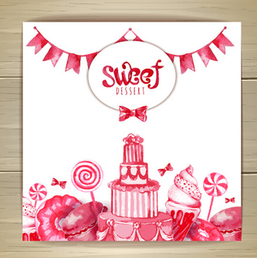 hand drawn sweet with cake vector background