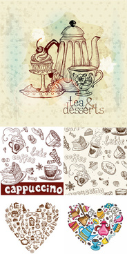 hand drawn tableware and food vector graphic