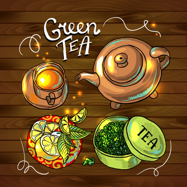 hand drawn tea time vector background