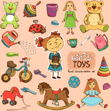 hand drawn toys elements vector