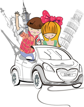 hand drawn travel couple vector