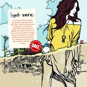 hand drawn urban fashion elements vector