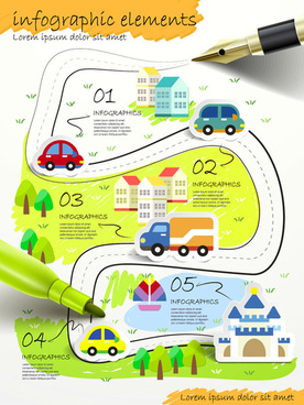 hand drawn urban transport infographic vector