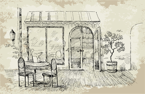 hand drawn vintage cafe vector