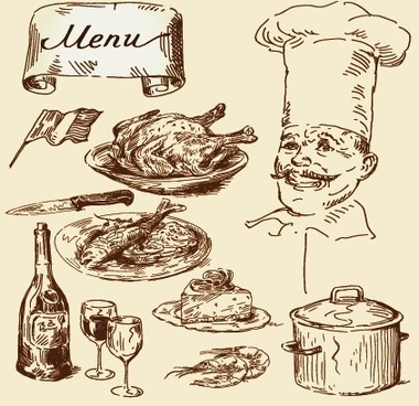 hand drawn vintage food illustrations vector