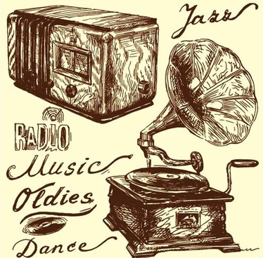 hand drawn vintage musical instruments vector
