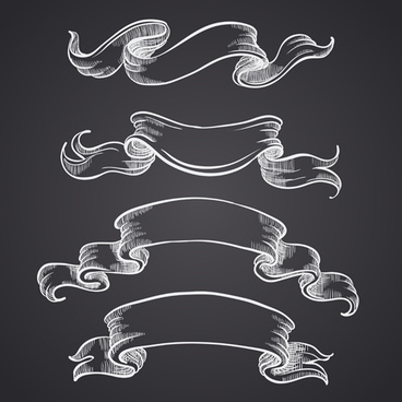 hand drawn vintage ribbon benner vector