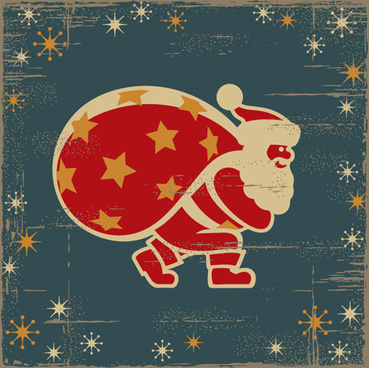 hand drawn vintage santa vector