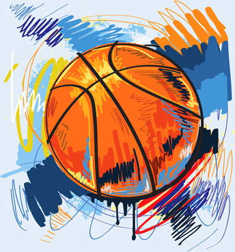 hand drawn with graffiti sport background art vector
