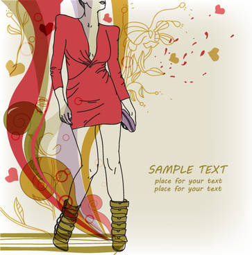 hand drawn woman with fashion art background vector