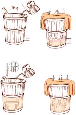 hand drawn wooden bucket vector graphic
