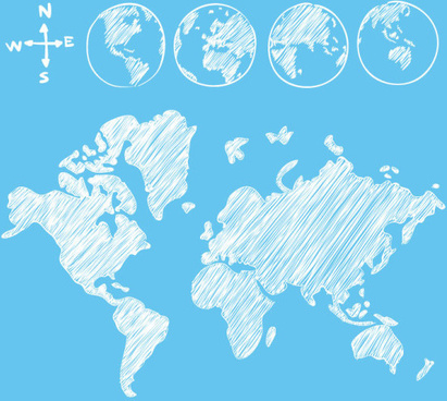 hand drawn world maps creative vector