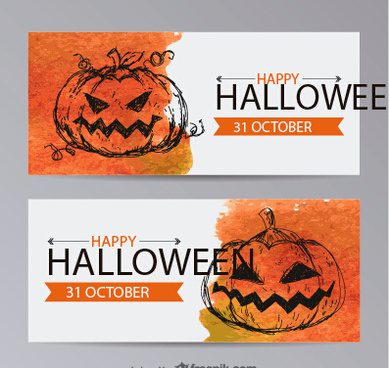 hand drewing pumpkins halloween banner vector