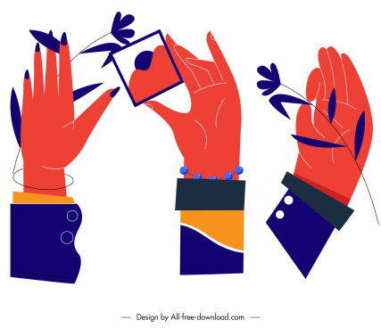 hand gesturing icons colored flat sketch