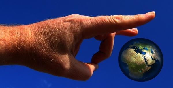 hand globe world