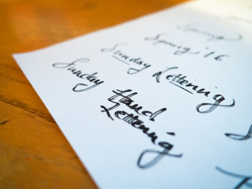hand lettering on paper
