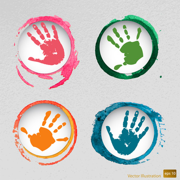 hand mark icons illustration with watercolor