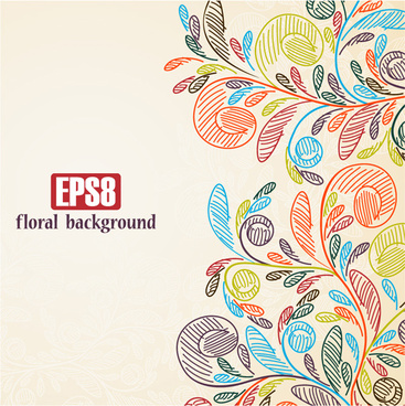 hand painted background flowers floral vector graphics