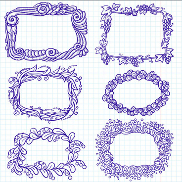 hand painted cartoon frames8 borders vector