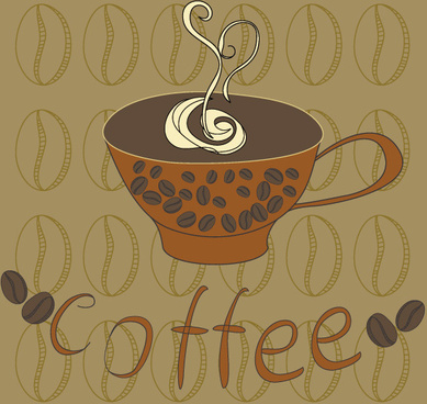 hand painted coffee cup vector