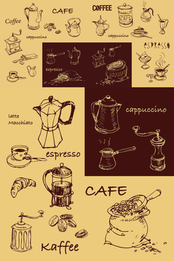 hand painted coffee line design elements