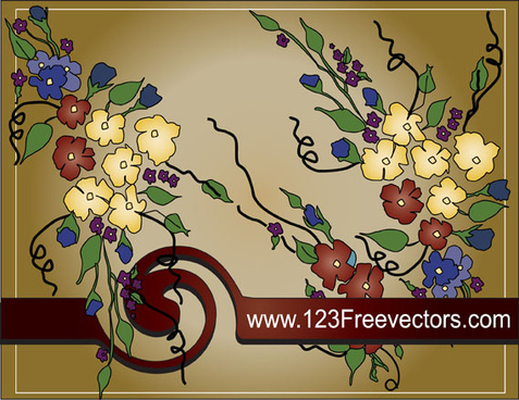 hand painted floral background vector