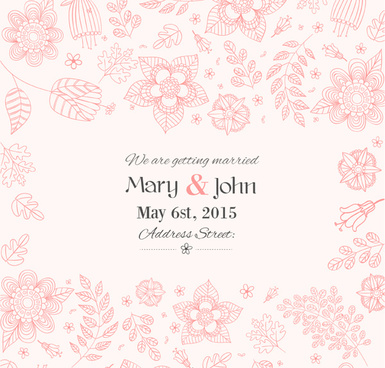 hand painted floral wedding invitation poster vector