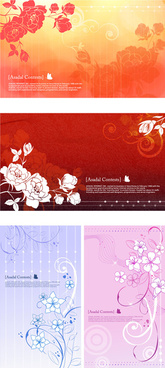 hand painted flowers background vector