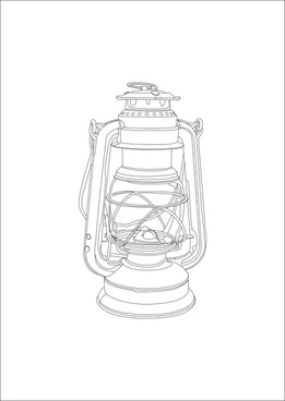 hand painted gas lamp vector
