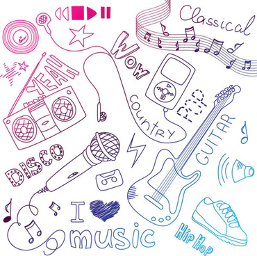 hand painted music elements vector