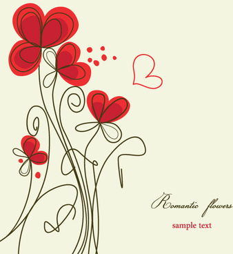 hand painted of romantic floral background vector