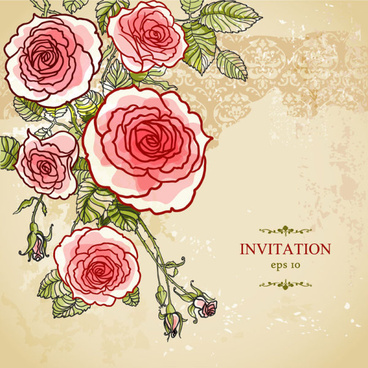 hand painted rose vector background