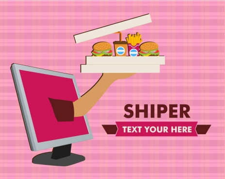 hand shipping banner computer fast food icons ornament
