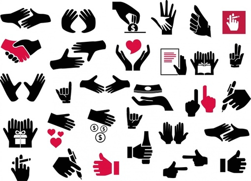 hand signal icons set design in silhouettes style