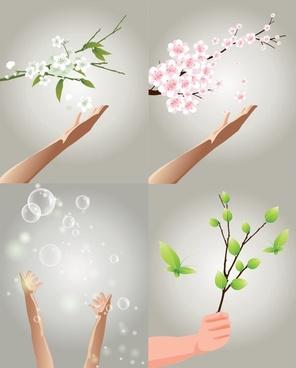 hand theme vector