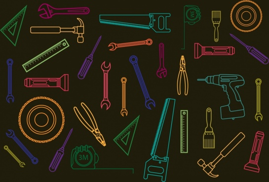 hand tools icons outline colorful flat silhouette design